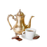 Coffee pot, cup of coffee and chocolate  isolated on white Stock Image