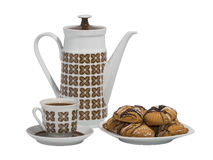 Coffee pot with a cup of coffee and cookies Royalty Free Stock Images