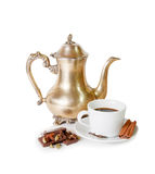 Coffee pot, cup of coffee with spices and pieces of chocolate Royalty Free Stock Photos