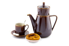 Coffee pot, cup and saucer and appel pie Royalty Free Stock Photography