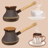 Coffee pot and cup set  Royalty Free Stock Photos