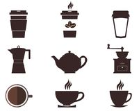 Coffee cups and pots. Coffee pot and cup silhouettes, design elements Royalty Free Stock Photo
