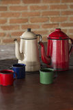 Coffee pot and cups in the wood stove Stock Image