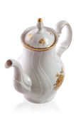 Coffee pot from czech service. White whith ornament roses Royalty Free Stock Images