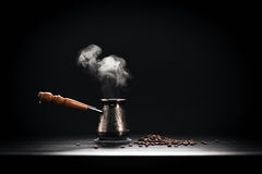 Coffee Pot On Dark Background.  Royalty Free Stock Photos