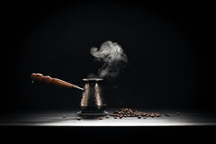 Coffee Pot On Dark Background.  Royalty Free Stock Photo