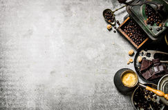 Coffee pot and different tools. Royalty Free Stock Image