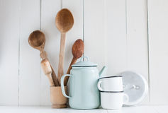 Coffee pot, enamel mugs and rustic spoons Royalty Free Stock Photography