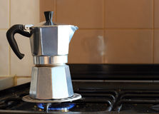 Coffee pot on the gas ring. Royalty Free Stock Photos