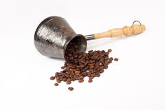 Coffee pot ground coffee grains Royalty Free Stock Photos