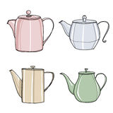 Coffee pot hand drawn set cute painting illustration. Stock Photography