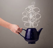 Coffee pot with hand drawn speech bubbles Royalty Free Stock Images