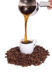 Coffee pot outpouring drink Royalty Free Stock Images