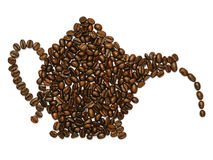 Coffee pot shape with beans. Photo of roasted coffee beans in the shape of a coffee pot Royalty Free Stock Photography