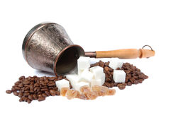 Coffee pot, sugar and coffee grains Stock Photo