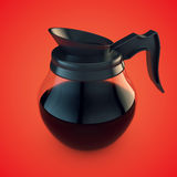 Coffee Pot. Transparent pot of coffee on red background royalty free illustration