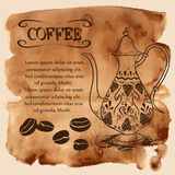 Coffee pot on a watercolor background Stock Image