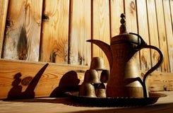 Coffee pot. Yemeni brass coffee pot with cups. Dahab stock image