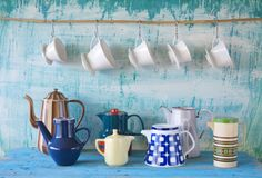 Coffee pots and coffee filters Stock Photos