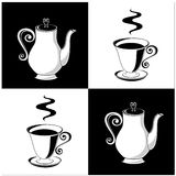 Coffee pots and cups. Set of two coffee cups and two pots Royalty Free Stock Photo