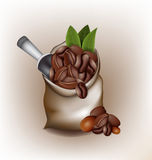 Coffee poured out of the sack vector design Stock Photo