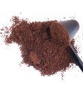 Coffee powder. Fresh coffee powder with spoon isolated on white background royalty free stock photo