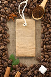 Coffee powder and beans as background. Texture royalty free stock photo