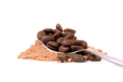Coffee powder and beans. Beautiful shot of coffee powder and beans over white background royalty free stock photos