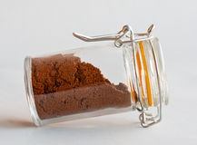 Coffee powder in glass Royalty Free Stock Images