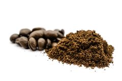 Coffee powder heap isolated on white background. Coffee powder heap isolated white background royalty free stock photography