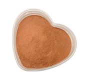 Coffee powder. In heart shape bowl stock photos