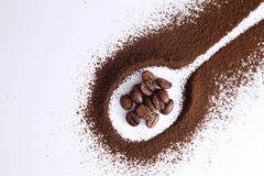 Coffee powder. And roasted coffee bean on the white background royalty free stock photos