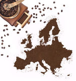 Coffee powder in the shape of Europe and a coffee mill.(series) Royalty Free Stock Images