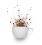 Coffee powder spilled out from cup Royalty Free Stock Images