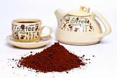 Coffee powder on a white background Royalty Free Stock Photography