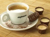 Coffee and pralines Stock Photo