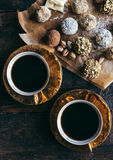 Coffee and pralines Royalty Free Stock Photography