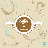 Coffee premium class retro background with frame Stock Image