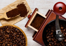 Coffee Preparation with Grinder royalty free stock photography