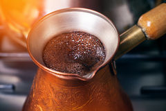 Coffee preparation royalty free stock image