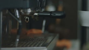 Coffee prepared with the help of coffee machines stock video