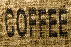 COFFEE printed onto a burlap sack Royalty Free Stock Images