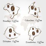 Coffee producting countries Stock Image