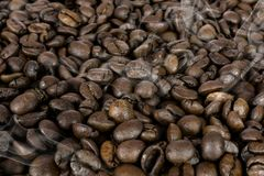 Hot coffee beans texture Royalty Free Stock Images