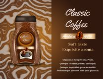 Coffee products ad. Vector 3d illustration. Instant coffee bottle template design. Arabica brand bottle advertisement. Poster layout Stock Photography