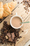 Coffee products,coffee brake. Coffee with steam and coffee been around Stock Images