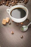 Coffee products,coffee brake. Coffee with steam and a few coffee seeds Royalty Free Stock Photo