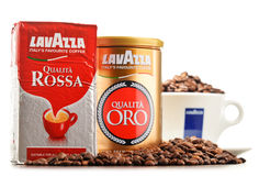 Coffee products of Lavazza isolated on white Stock Photo