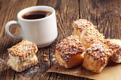 Coffee with puff cookies Stock Photo
