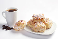 Coffee and puff cookies with nuts Stock Images